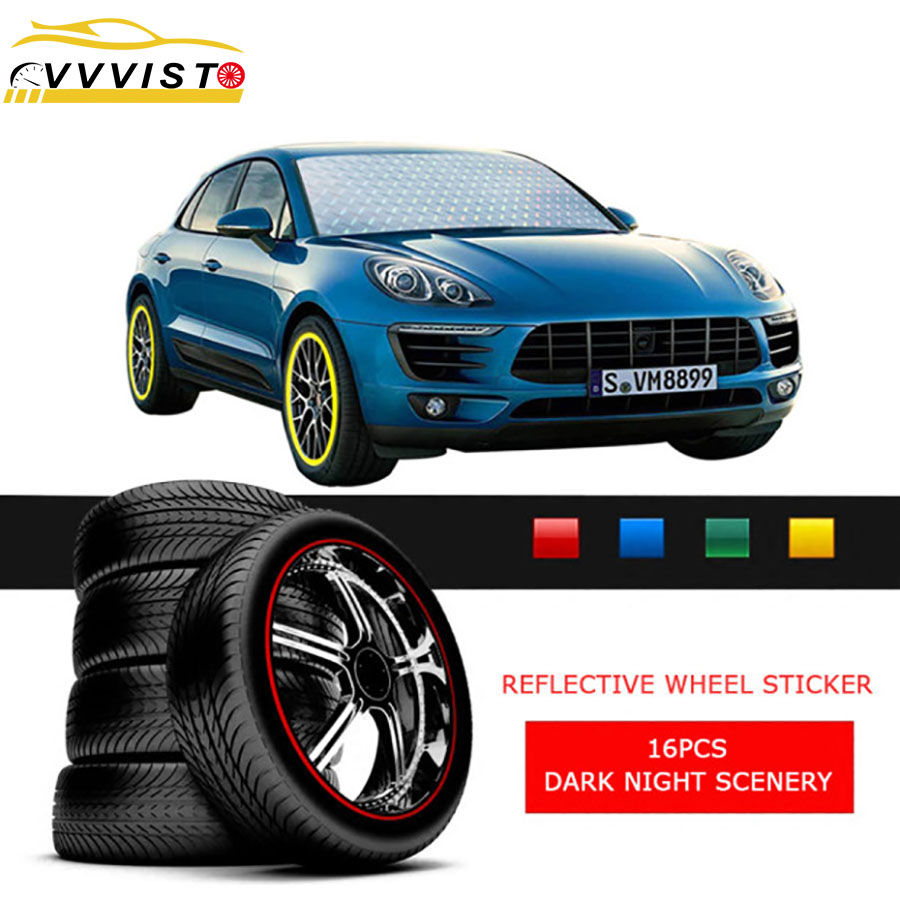 2019 VVVIST Reflective Car Stickers Strips And Decals for 17in  Wheel Rim 16 Pcs Styling 4 Colors