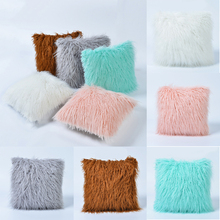 New Style Throw Pillow Case  pillowslip for Sofa Car Soft Plush Fur Square Cases Furry Comfort Pillowcase D25