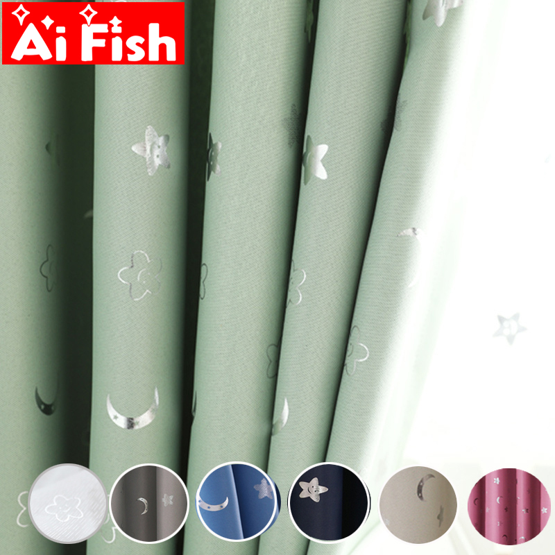 Korean Shiny Smiley Face Stars And Moon Children Cloth Curtains For Kid's Bedroom Living Room Blackout Cortinas Panels MY155#50