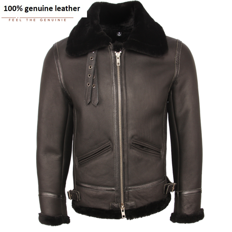 Classic B3 Fight Jacket 100% Natural Shearling Coat Men Pilot Leather Jacket Aviator Thick Fur Coat Winter Warm Clothing M361