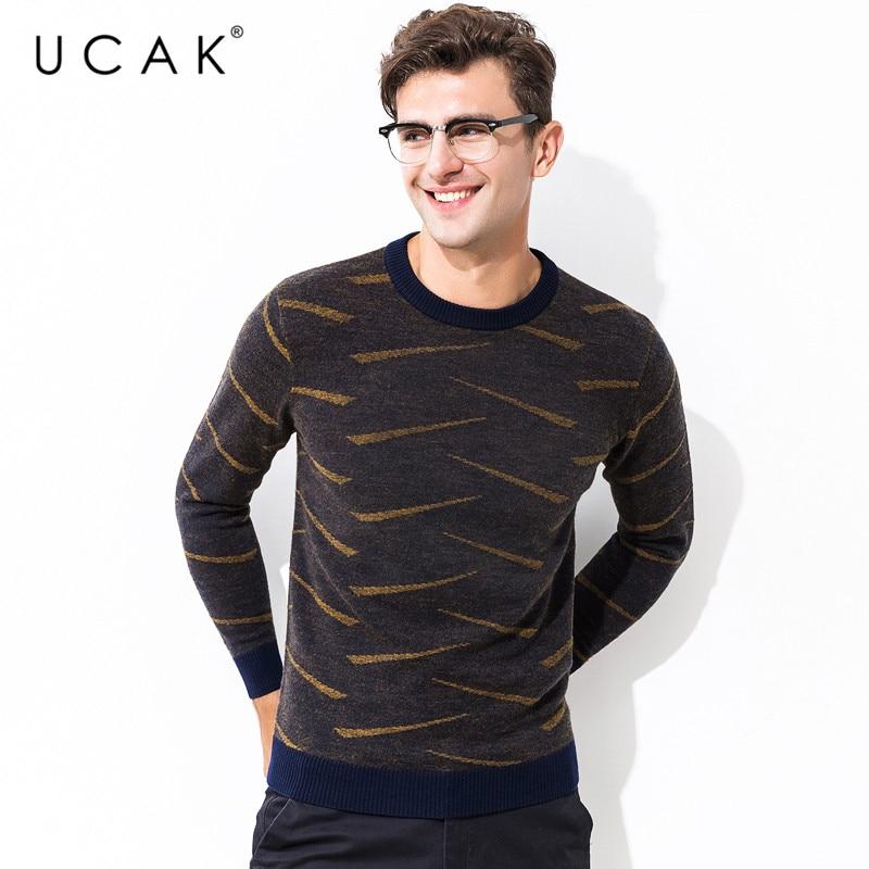 UCAK Brand Sweater Men 100% Merino Wool Pullover Men Fashion Striped Pull Homme Autumn Winter Thick Warm Cashmere Sweaters U3066
