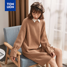 TONLION Coffee Color Women Long Sweater Dress O Neck Long Sleeve Knitted Sweater Pullovers for Woman Loose Sweaters Flare Sleeve qingteng casual knitted long pullovers sweater women pockets irregular hem batwing loose prue cashmere long sweaters women dress