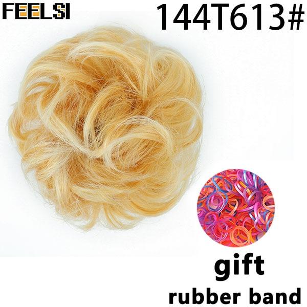 FEELSI синтетические гибкие волосы булочки кудрявые резинки шиньон эластичные грязные волнистые резинки для наращивания конского хвоста для женщин - Цвет: T1/27