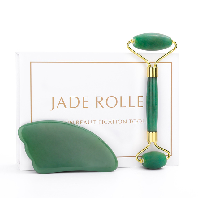 New Arrival Beauty Product Jade Roller For Face Gua Sha Kit For Skin Care Natural Rose Quartz Stone Beauty Roller Tool Girl Gift 1