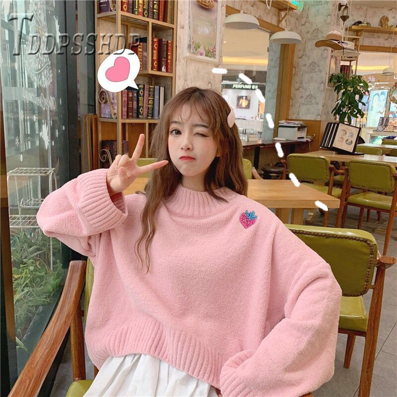 2019 Embroidery Strawberry Korean Women Sweater Loose Pullover Autumn School Sweet Female Sweaters