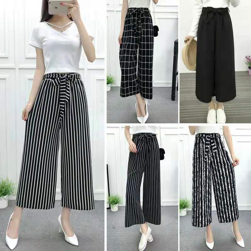 Hot Women's Wide-leg Pants M-4XL Max 100 Kg Can Wear Wide-leg Pants Women Loose Large Size Casual Stripes Elastic Streamers Pant