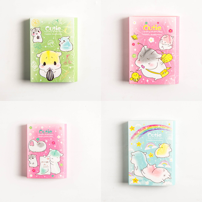 Kawaii Lovely Image Little Hamster 6 Folding Memo Pad N Times Sticky Notes Memo Notepad Bookmark Gift Stationery