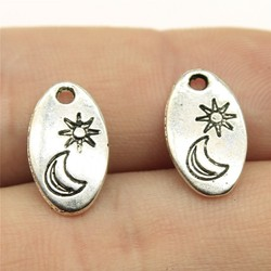 WYSIWYG 20pcs 15x9mm Charms Moon And Sun Antique Silver Color Metal Alloy Jewelry DIY Accessories