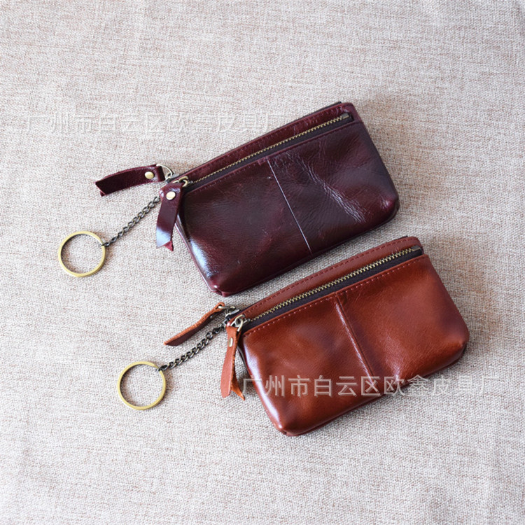 Handmade Genuine Leather Purse Women's Oil Wax First Layer Leather Wallet Women's Coin Bag Key Retro Wallet