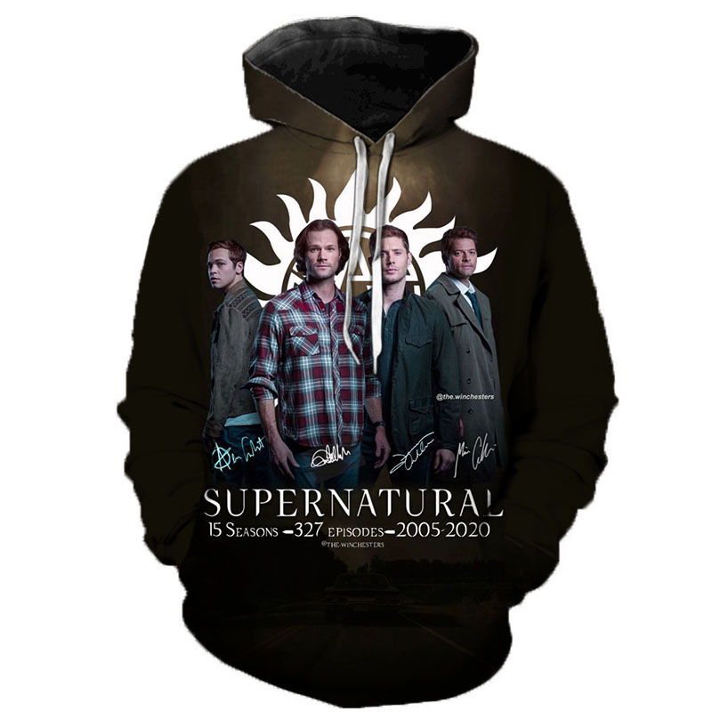 Supernatural 3D Print Hoodie Sweatshirts Men Women Fashion Casual Supernatural Pullover Hip Hop Streetwear Oversized Hoodies
