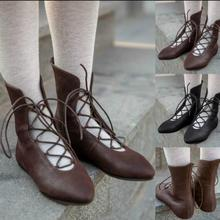 women mid-calf boots flats gladiator lace up round toe shoes woman chaussure zapatos mujer WXZ171