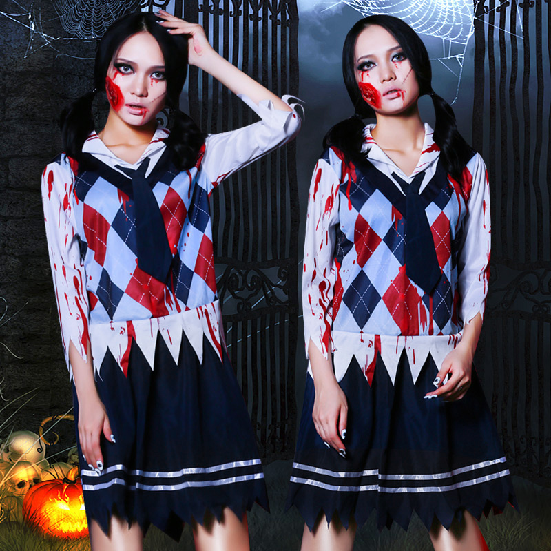 Halloween Female Ghost Student Loaded Adult Bar Rave Wear Performance Clothing Nightclub Sexy Show Ds Jazz Stage Costume DT1594