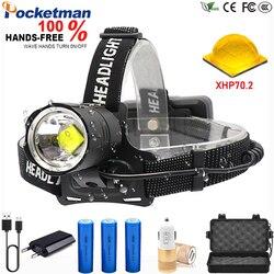 120000 Lumens 6600mA Led Headlamp XHP70.2 Camping headlight High Power lantern Head Lamp Zoomable USB Torches Flashlight 18650