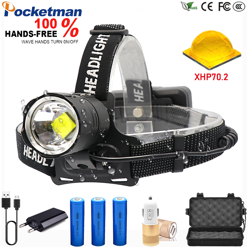 Super puissant 6600mA Led phare XHP70.2 Camping phare haute puissance lanterne lampe frontale Zoomable USB Torches lampe de poche 18650