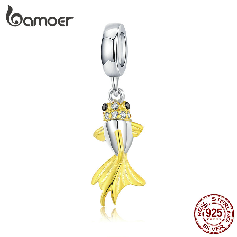 Bamoer 925 Sterling Silver Gold Color Fish Tail Pendant Charm For Original Silver Bracele And Necklace Women DIY Jewelry BSC127