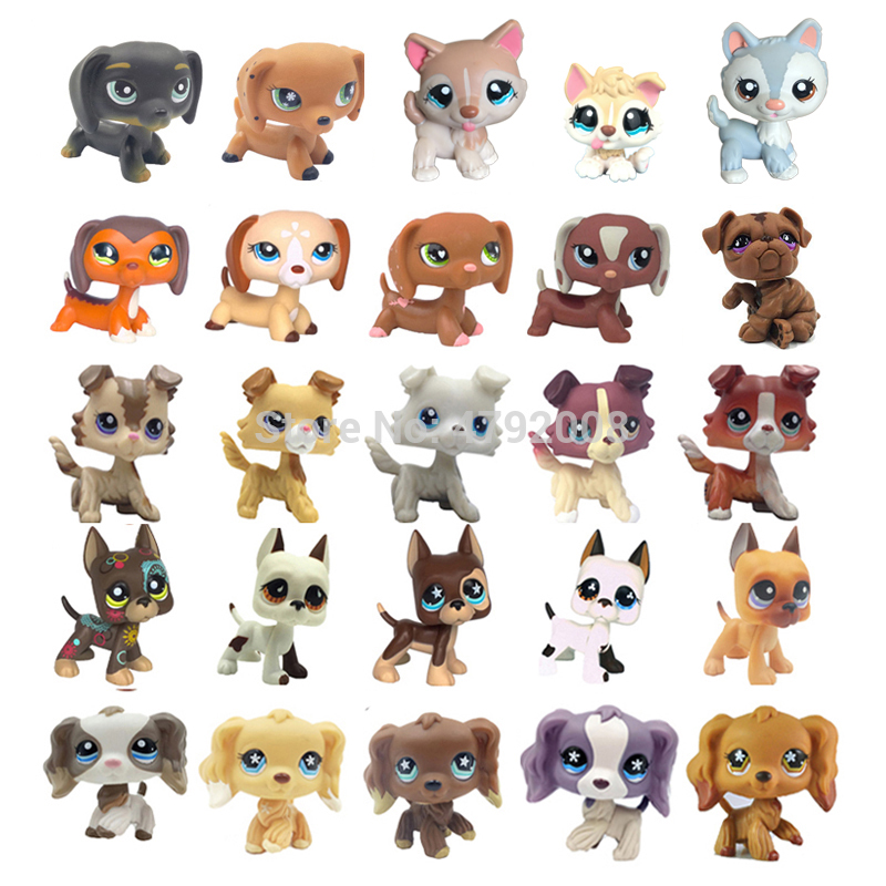 Rare Animal Pet Shop Lps Toys Stands Dog Dachshund Collie Cocker Spaniel Great Dane Husky Old Original Figure Collection