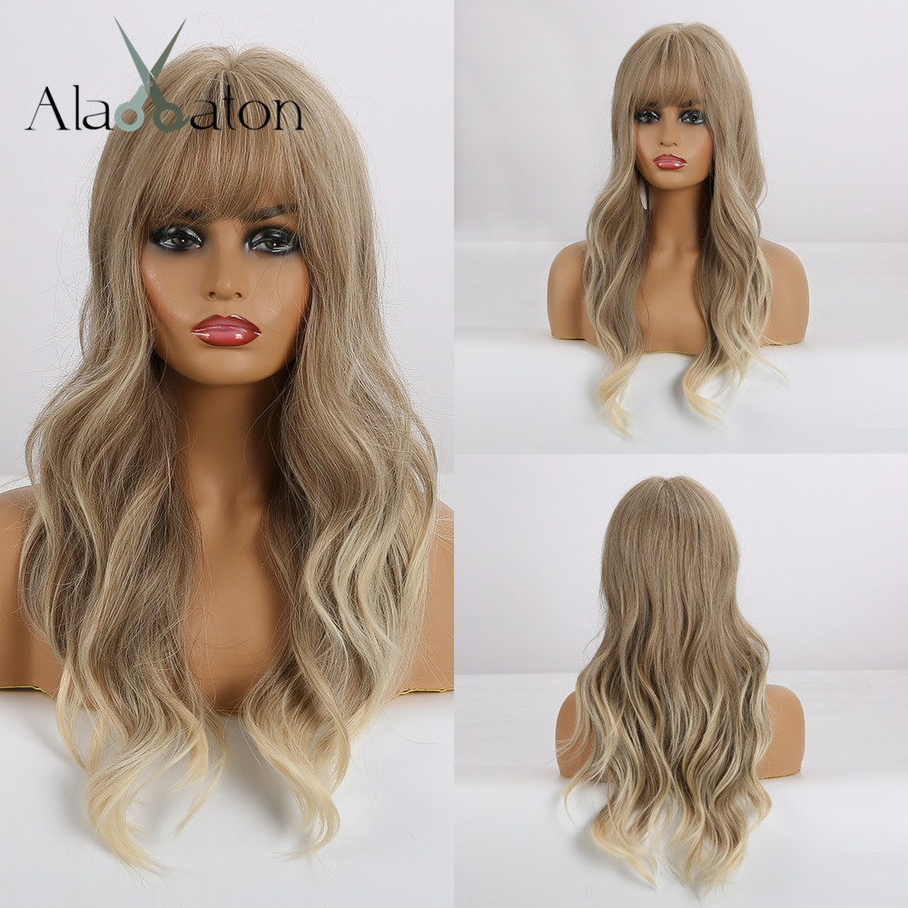 ALAN EATON Long Wavy Ombre Light Brown Blonde Ash Wigs With Bangs Synthetic Party Cosplay Hair Wigs For Black Women Fake Hair