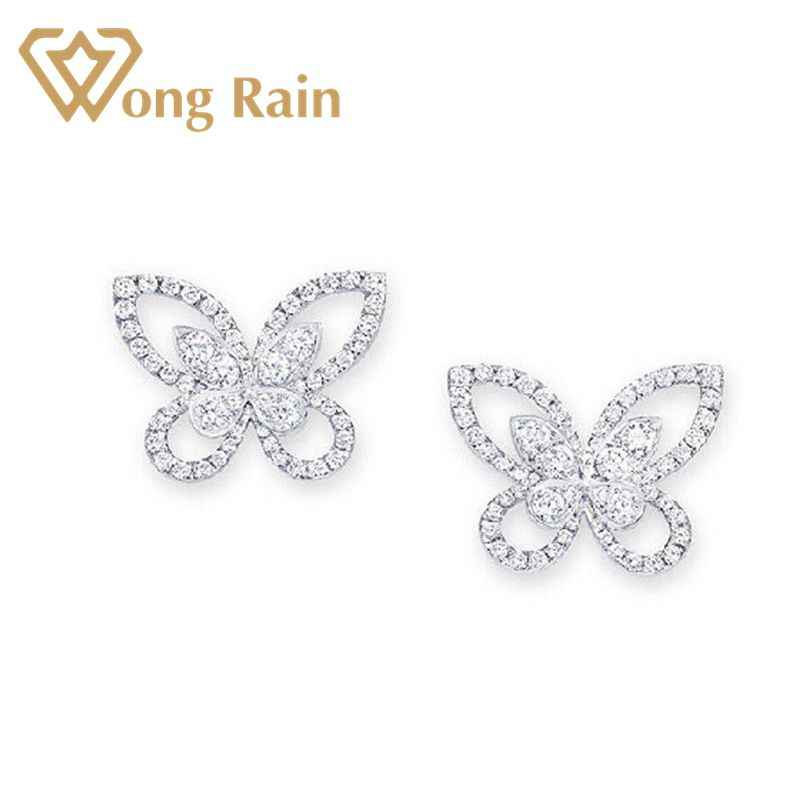 Wong Rain Luxury 100% 925 Sterling Silver Created Moissanite Gemstone Birthstone Butterfly Earrings Ear Studs Jewelry Wholesale