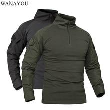 WANAYOU мужские тактические военные камуфляжные спортивные футболки с длинным рукавом дышащая футболка для охоты альпинизма рыбалки