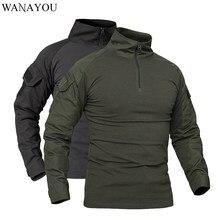 WANAYOU Uomini Outdoor Militare Tattico T-Camicette Camouflage A Maniche Lunghe Sport Camicette Traspirante Caccia Pesca Arrampicata T Shirt