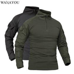 WANAYOU Men Outdoor Tactical Military T-Shirts Camouflage Long Sleeve Sports Shirts Breathable Hunting Climbing Fishing T Shirt