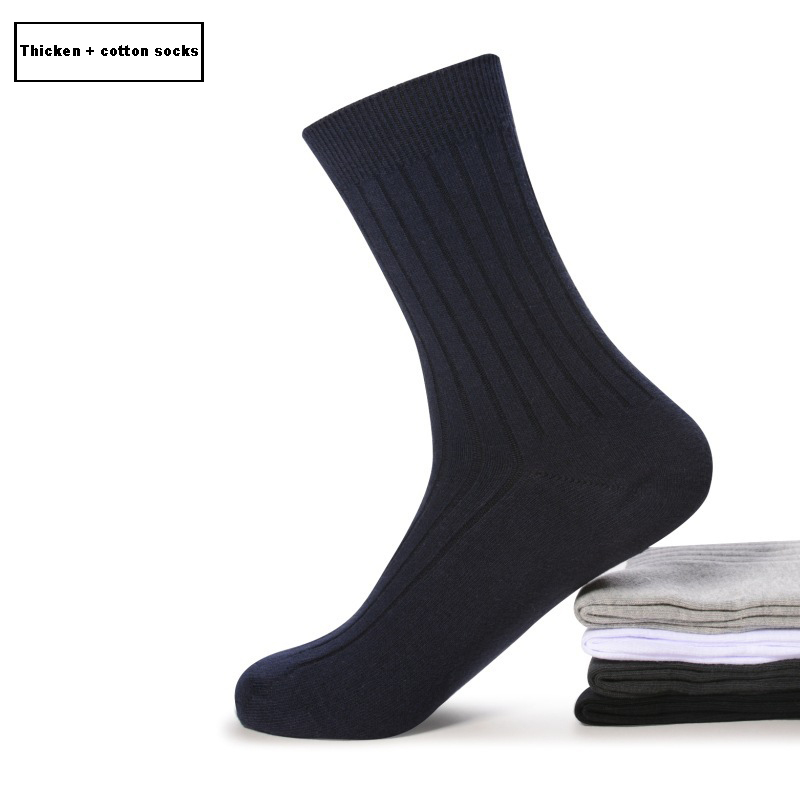High Quality 100% Combed Cotton Men Dress Socks White Black Gray Navy Blue Long Socks Sokken Calcetines Hombre Meias Plus Size 43-45 Thicken Autumn And Winter Compression Socks 5 Pair/lot