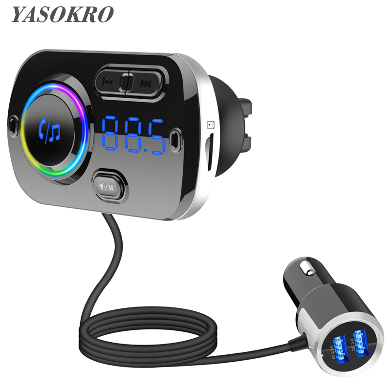 YASOKRO Bluetooth Car Kit Mp3 Player Automobile Wireless Handsfree QC3.0 Fast Charge FM Transmitter Car atmosphere light image
