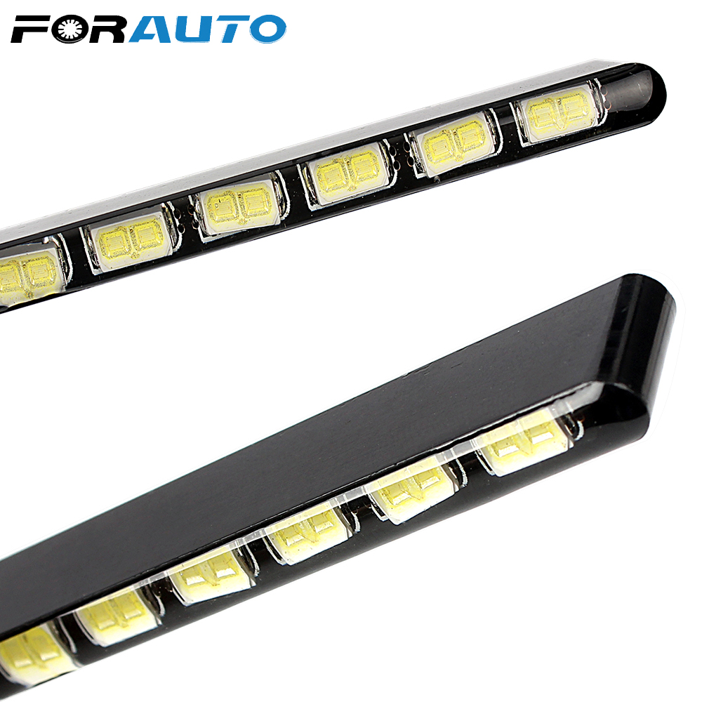 FORAUTO 2pcs SMD Aluminum Housing 12 LEDs Led Strip Daytime Running Lights DRL Daylight Light Source 7030 Fog Light Car Styling
