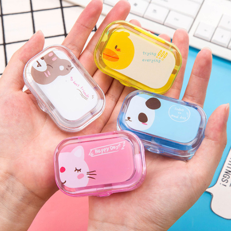 1PC Candy Color Contact Lens Case Colored Eye Contact Lenses For Eyes Contacts Lenses Box Suction Cup Tweezer Mirror Kit