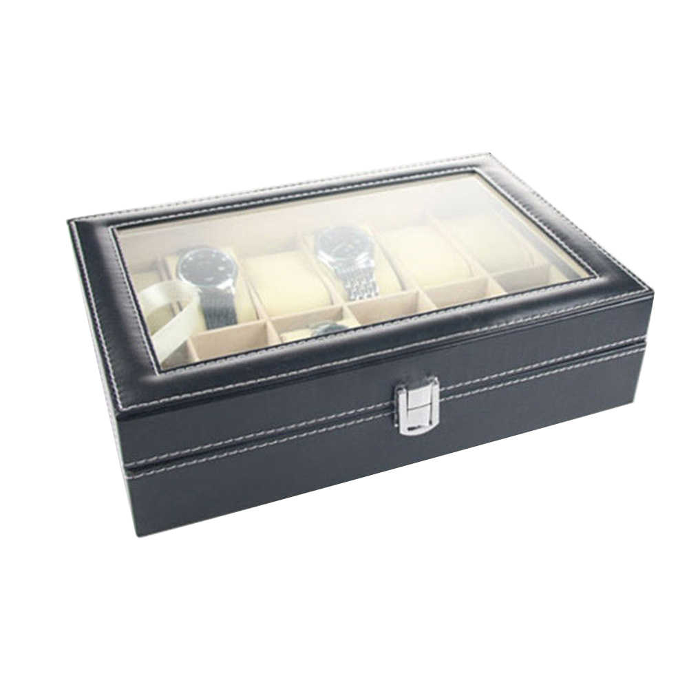 Faux Leather Watch Box Display Case Organizer Jewelry Storage Box 12 Slot Ring Earring Watch Watch Box Jewelry Display Cabinet