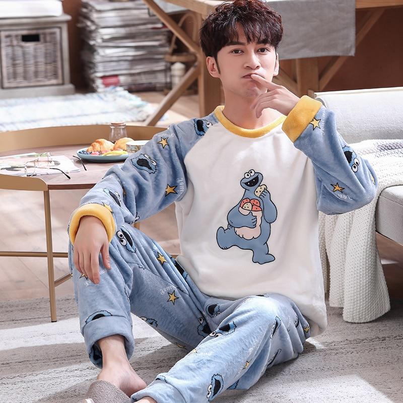 Young Men Pajamas Set Warm Flannel Male Long-sleeved Autumn Winter Pyjama Loose Men Home Set Coral Fleece Sleepwear Top+ Pants