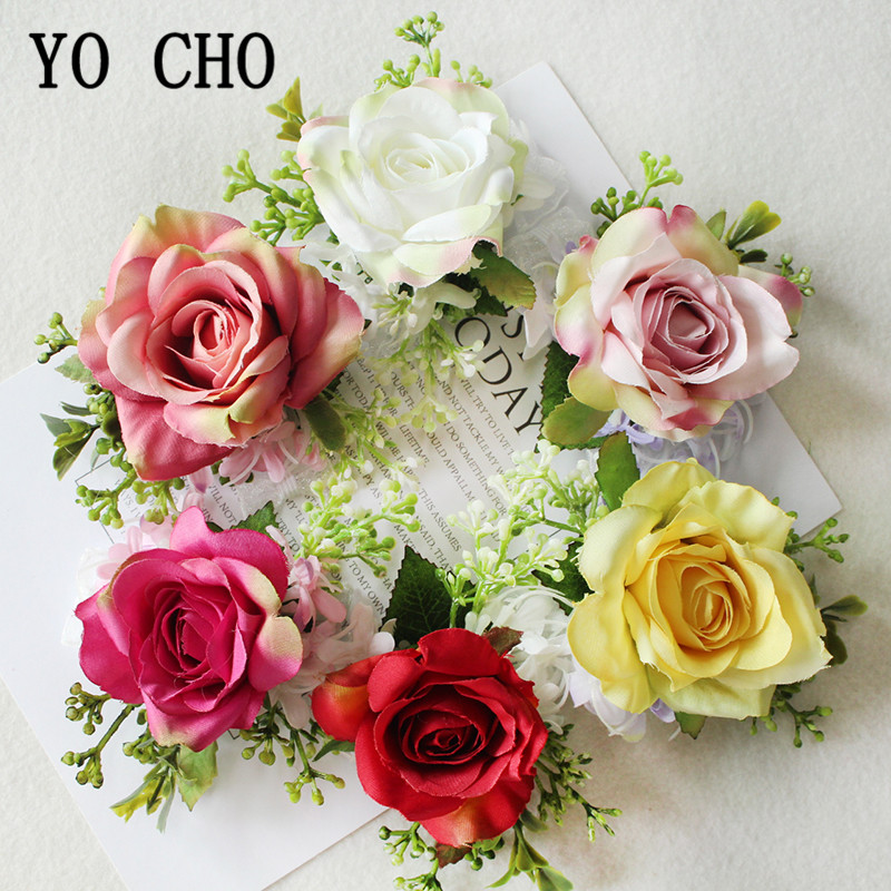 YO CHO Wedding Boutonniere Groom Brooch Pins Bridal Wrist Corsage Girl Bracelet Silk Rose Party Prom Wedding Planner Flowers
