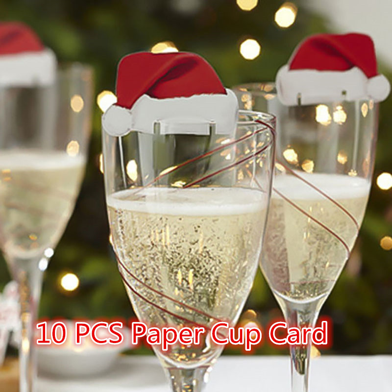 Christmas Decorations For Home 10PCS Christmas Red Wine Paper Cup Card Christmas Hat Wine Glass Card Decor Navidad Natal Kerst @