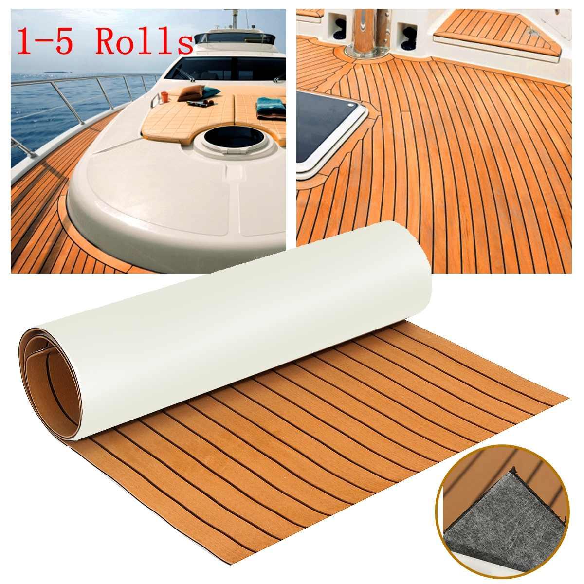 6mm 89x230cm Self-Adhesive EVA Foam Teak Decking EVA Teak Sheet Marine Flooring Faux Boat Decking Sheet Brown Black Line