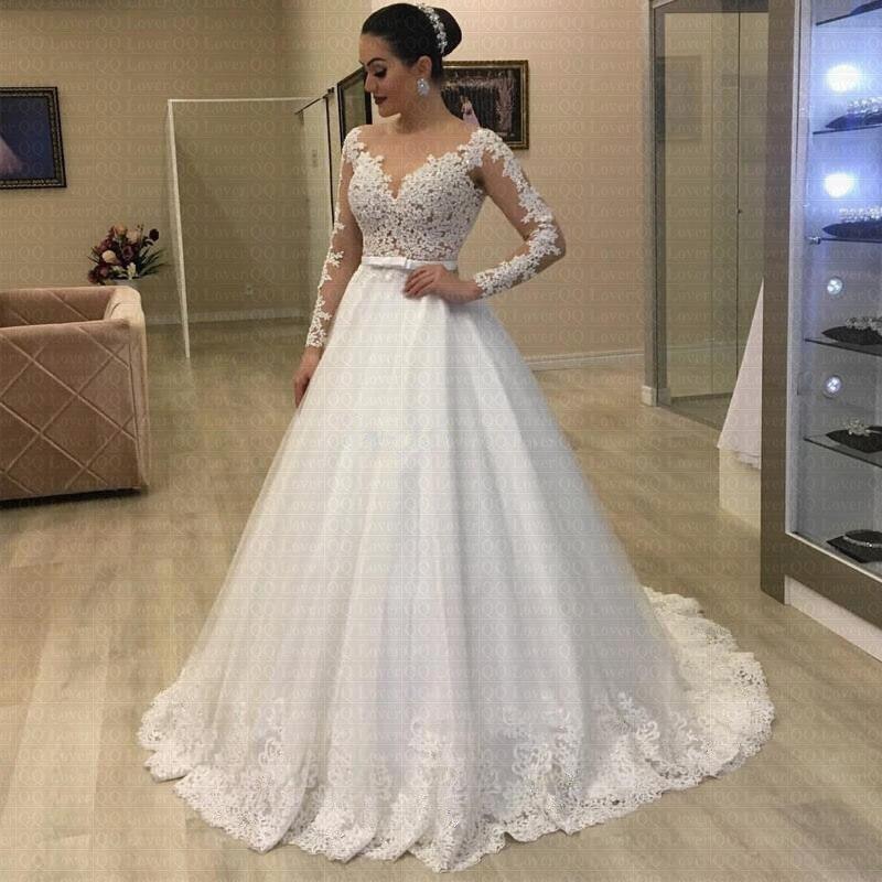 Cheap Sexy Back Vestido De Noiva Vintage Lace Bridal Dress Romantic Bohemian Long Sleeve Ball Gown Wedding Dress 2020