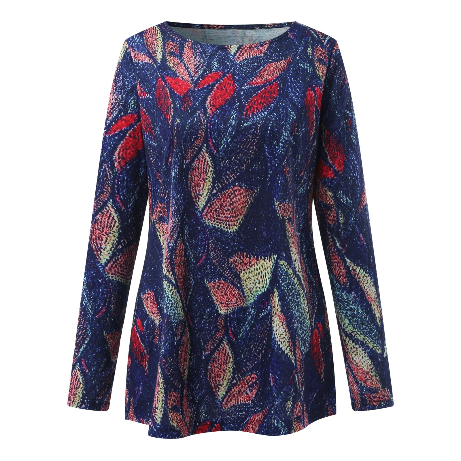 4# Women's Harajuku Blouses Retro Leaf Print Loose Casual Long Sleeve Shirts Pullover O neck Top Shirt Cotton And Linen Top