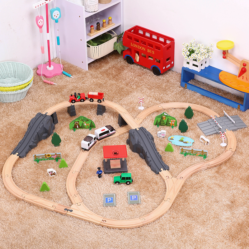 Assembled Track Building Block Toy Forest Scene Track Set Slot Puzzles Wooden Track Train Early Educational Toy For Children