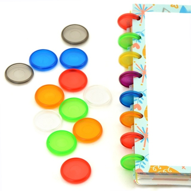 DISCBOUND DISCS 100pcs Ring Binder 18mm/24mm Colorful Binding Rings Made of ABS Material for Notebook CX19 004
