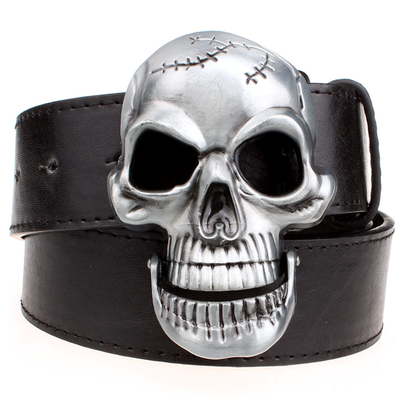 Skull Waist Belt Punk Hip-hop Trendy Women Belts Luxury Quality Designer Belt Mens Faux Leather Unisex Ghost Head Buckles Belts