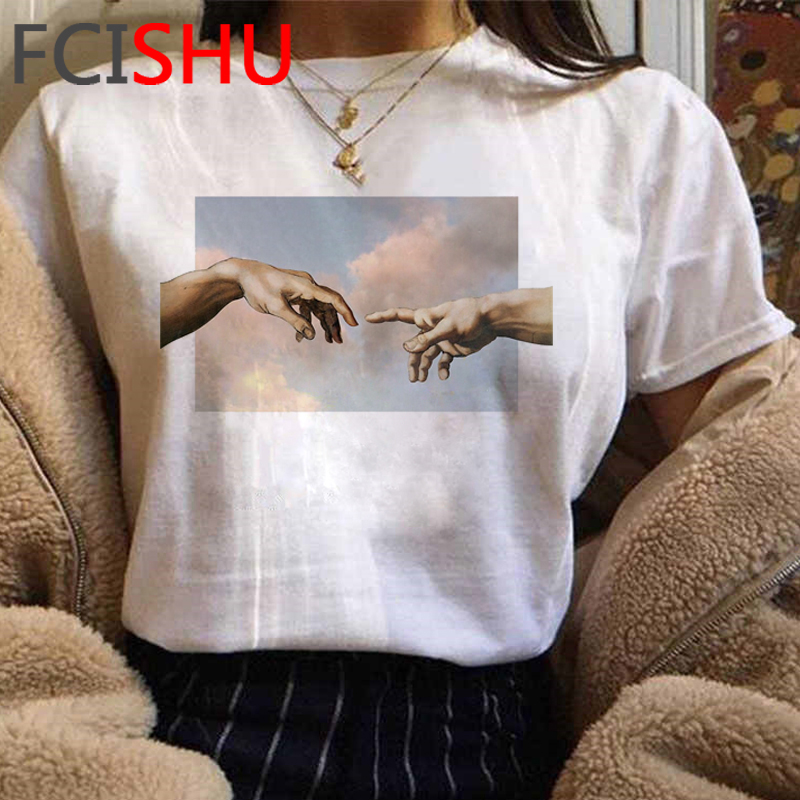 New Michelangelo Funny Cartoon Tshirt Women Grunge Aesthetic Hand Print T-shirt Graphic Oversized Tshirt Casual Top Tees Female