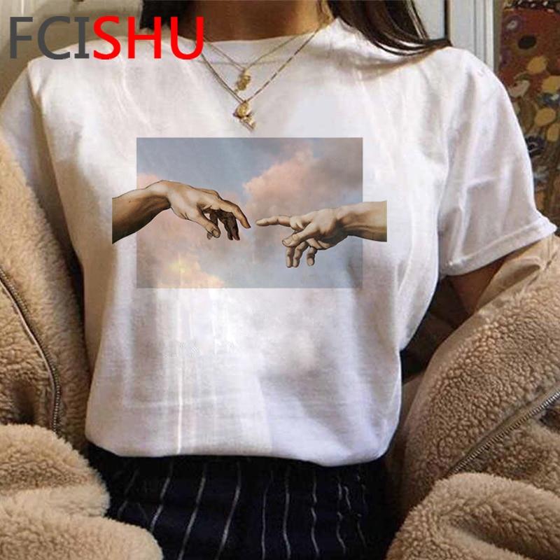 New Michelangelo Funny Cartoon Tshirt Women Grunge Aesthetic Hand Print T-shirt Graphic Oversized Tshirt Casual Top Tees Female