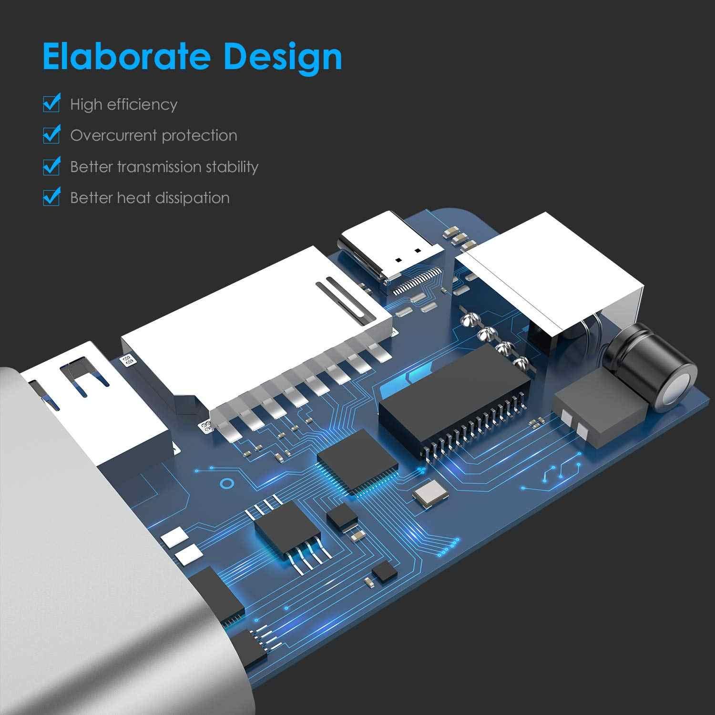 USB C Gigabit Ethernet Hub ile 4K HDMI, 2 USB 3.0, kart okuyucu, tip C şarj, dijital AV Multiport adaptörü MacBook için Pro16