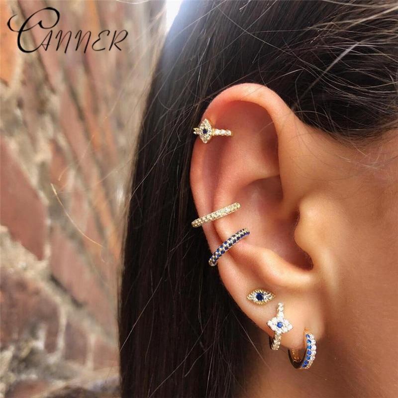 CANNER 2019 New Lucky Evil Eyes Earring 100% 925 Sterling Silver Earrings for Women Tiny Zircon Blue Small Stud