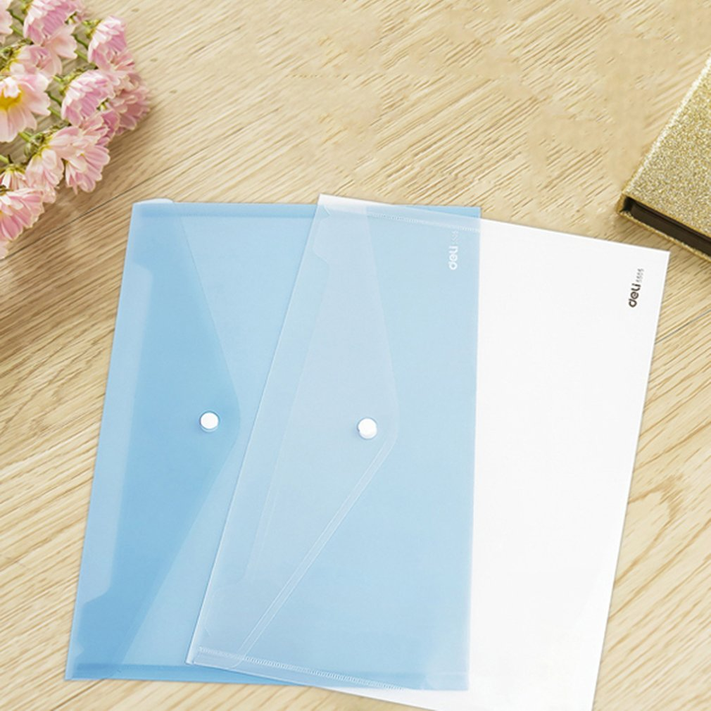 Deli 5505 Transparent Plastic Closure Folder Documents Bag A4 File Cover Business And School Filing Products Wholesale