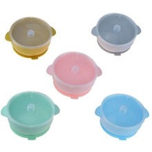 BPA-Free Silicone Baby Suction Food Bowl with Lid Spill-resistance Sucker Dinner Plate Infants Learning Feeding Dish Tableware