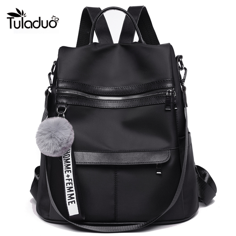 New Fashion Girl Backpack Waterproof Anti-theft Nylon Simple College Wind Bag Youth Fashion Plush Ball Pendant Lady