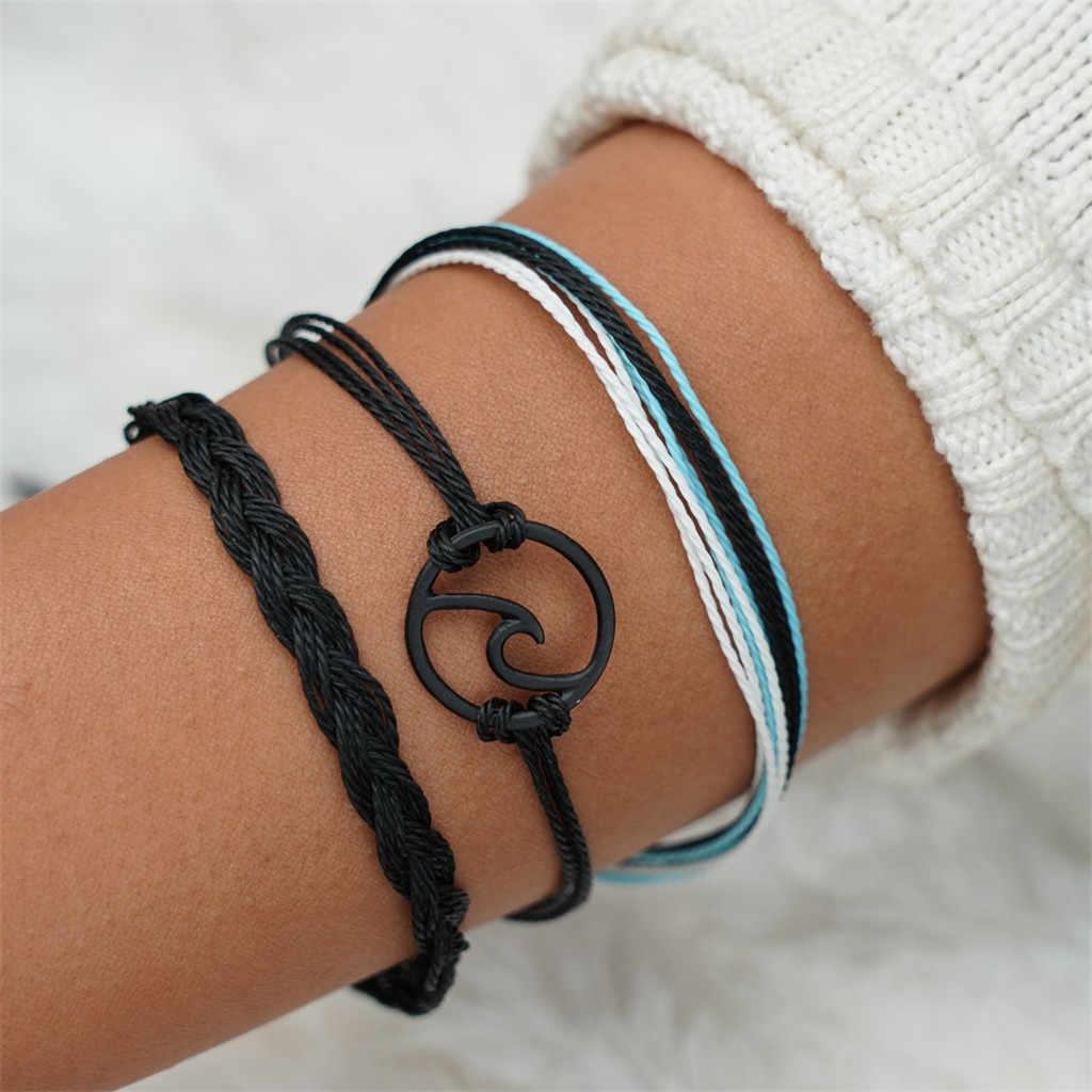 Gofuly vague brin Bracelet ensemble étanche cire corde corde été plage surfeur bijoux corde Bracelet amoureux cadeaux pour les femmes