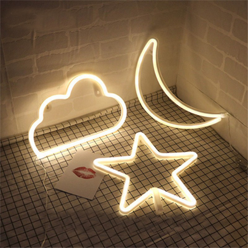 Led Neon Light Sign Moon Star Night Light Xmas Wedding Party Holiday Kids Room Home Decorations Neon Lamp
