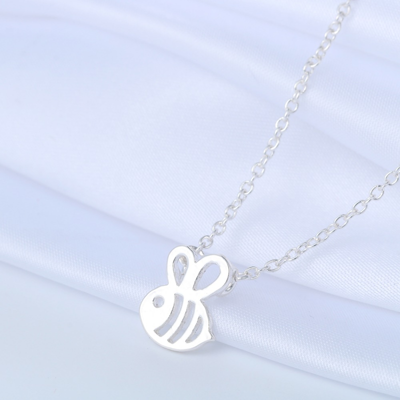 Baru Lucu Hewan Bumble Bee Kalung Wanita Emas Perak Bayi Perhiasan Lucu Serangga Pesona Kalung untuk Gadis Hadiah