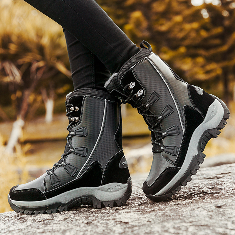 Image 5 - UPUPER New Women Snow Boots Winter Shoes Comfort Warm Boots Outdoor Waterproof Heels Platform Boots With Fur Botas Mujer 2019-in Mid-Calf Boots from Shoes